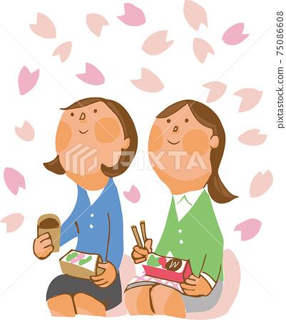 兩個女人抬頭看著櫻花 75086608