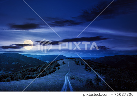 road through meadow in mountains at night. beautiful rural landscape of carpathians in full moon light. wonderful summer weather with fluffy clouds on the sky 75087806