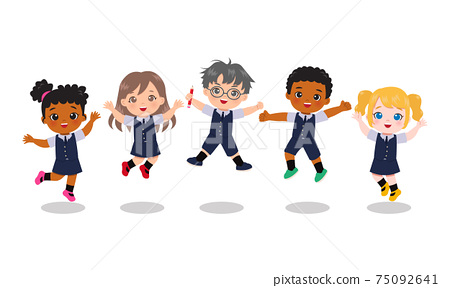 Cute kids in school uniform jumping together. Educational clip art. Flat vector cartoon isolated 75092641