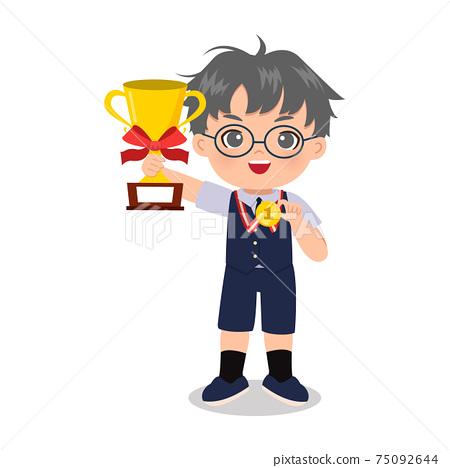 Smart boy in school uniform pose with trophy and gold medal. Educational clip art. Flat vector design isolated 75092644
