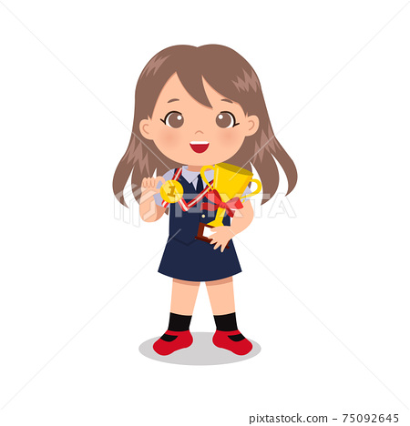 Smart girl in school uniform with gold medal and trophy. Educational clip art. Flat vector cartoon design isolated  75092645