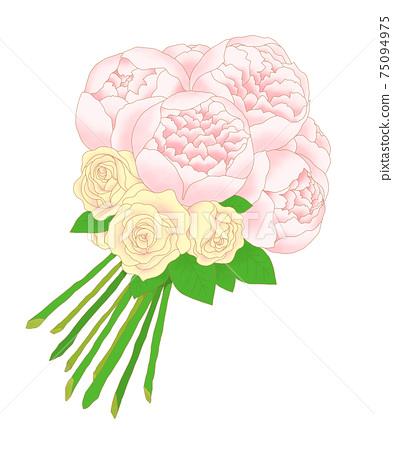 핑크 작약과 장미 클러치 부케 75094975