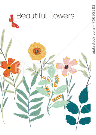 Beautiful vector flowers and butterflies 75095383