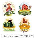 Farm and farmer labels, organic food bio products 75096923