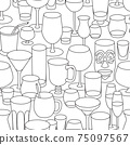 Hand-drawn doodle cartoon style bar cocktail glasses such as high ball martini margarita old fashioned shot vector seamless pattern illustration background 75097567