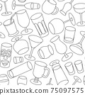 Hand-drawn doodle cartoon style bar cocktail glasses such as high ball martini margarita old fashioned shot vector seamless pattern illustration background 75097575