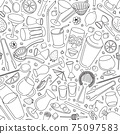 Hand-drawn doodle cartoon style bar cocktail tools accessories instruments such as shaker glasses strainers jiggers vector seamless pattern illustration background. 75097583