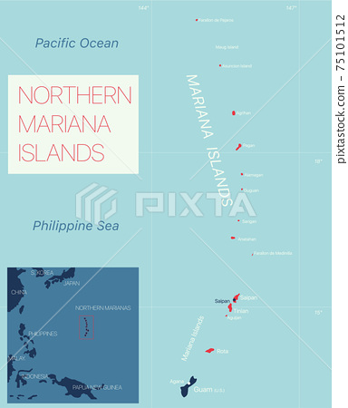 Nothern Mariana Islands detailed editable map 75101512