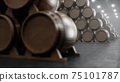 Barrels of wine, whiskey, bourbon liqueur or cognac in the basement. Aging of alcohol in oak barrels in warehouse. Wine, beer, whiskey casks stacked in a cellar, 3D illustration 75101787