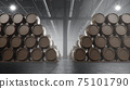 Barrels of wine, whiskey, bourbon liqueur or cognac in the basement. Aging of alcohol in oak barrels in warehouse. Wine, beer, whiskey casks stacked in a cellar, 3D illustration 75101790