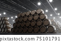 Barrels of wine, whiskey, bourbon liqueur or cognac in the basement. Aging of alcohol in oak barrels in warehouse. Wine, beer, whiskey casks stacked in a cellar, 3D illustration 75101791