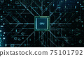 Technological background with CPU and circuit board. Flying CPU and installation in center circuit board. Neural Networking concept. Moving data transmission along lines circuit board, 3D illustration 75101792