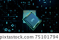 Technological background with CPU and circuit board. Flying CPU and installation in center circuit board. Neural Networking concept. Moving data transmission along lines circuit board, 3D illustration 75101794