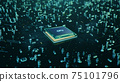 Technological background with CPU and circuit board. Flying CPU and installation in center circuit board. Neural Networking concept. Moving data transmission along lines circuit board, 3D illustration 75101796