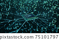 Technological background with CPU and circuit board. Flying CPU and installation in center circuit board. Neural Networking concept. Moving data transmission along lines circuit board, 3D illustration 75101797
