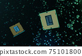 Technological background with CPU and circuit board. Flying CPU and installation in center circuit board. Neural Networking concept. Moving data transmission along lines circuit board, 3D illustration 75101800