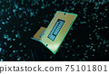 Technological background with CPU and circuit board. Flying CPU and installation in center circuit board. Neural Networking concept. Moving data transmission along lines circuit board, 3D illustration 75101801