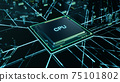 Technological background with CPU and circuit board. Flying CPU and installation in center circuit board. Neural Networking concept. Moving data transmission along lines circuit board, 3D illustration 75101802
