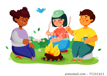 Children roasting marshmallows over campfire - colorful flat design style illustration 75101821