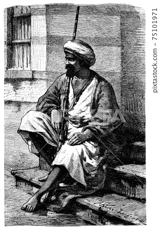Armed Bedouin from Cairo, Egypt.History and Culture of North Africa. Antique Vintage Illustration. 19th Century 75101971