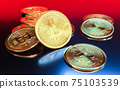 Cryptocurrency Bitcoin golden coins spilling on the table. 75103539