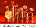 Cryptocurrency Bitcoin golden coins spilling on the table. 75103545