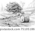 Graphite rural landscape with haystacks 75105186