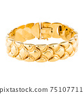 14 Karat Yellow Gold Chain Curb Link Bracelet with Box Clasp Closure Isolated. Retro Vintage Linked-Chain Design Golden Jewellery. Wristband Accessories. Women's Men's Precious Metal Jewelry 75107711