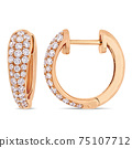 Sterling Silver Diamond Triple Row Hoop Earrings 75107712