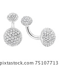 Diamond Encrusted Rounded 18 Karat White Gold Cufflinks Isolated on White. Double Sided Precious Metal and Stones Round Beveled Stud Set with Gemstones. Luxury Jewelry. Jewellery Accessories 75107713
