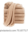 Brown 10 Piece Terry Hand Towel Set Isolated on White Background. Close-Up Shot Woven Terrycloth. Modern Brand-New 100 Cotton Soft Beautiful Design Bath Towels 600 GSM Front View 75107717