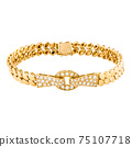 18K Yellow Gold Chain Curb 1.12ctw Round Brilliant Diamond Link Bracelet with Push Clasp Isolated. Vintage Linked-Chain Design Golden Jewellery. Wristband Accessories. Women's Precious Metal Jewelry 75107718