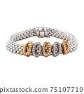 18K White and Rose Gold 1.12ctw Round Brilliant Diamonds Flex It Bracelet with Box Clasp Closure Isolated. Retro Vintage Design Golden Jewellery. Wristband Accessories. Women's Precious Metal Jewelry 75107719