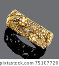 Handcrafted 18 Karat Yellow Gold Embellished with Diamonds Rose Leaf Floral Bracelet Isolated on Black. Fine Antique Pieces Golden Jewellery. Precious Metal Jewelry. Wristband Accessories 75107720