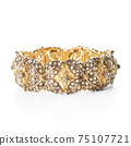 Handcrafted 18 Karat Yellow Gold and Sterling Silver Embellished with Diamonds Rose Leaf Floral Bracelet Isolated. Fine Antique Pieces Golden Jewellery. Precious Metal Jewelry. Wristband Accessories 75107721