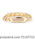 18 Karat Yellow Gold Curb Link Chain Bracelet Isolated on White. Linked-Chain Design Golden Jewellery. Wristband Accessories. Women's and Men's Precious Metal Classic Curb-Link Jewelry 75107722
