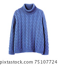 Blue Cashmere Oversized Cable Knit Turtleneck Isolated on White. Woman's Long Sleeves Sweatshirt. Modern Lady Sweater Front View. Beauty & Fashion. Jerseys Clothing Garment Apparel 75107724