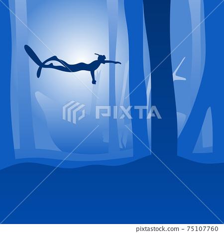man freediver glides with fins underwater with ship wreck underwater deep sea bottom in blue shade gradient background illustration vector. 75107760