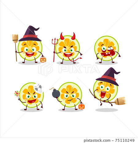 Halloween expression emoticons with cartoon character of slice of jackfruit 75110249