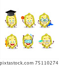 School student of slice of cupuacu cartoon character with various expressions 75110274
