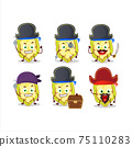 Cartoon character of slice of cupuacu with various pirates emoticons 75110283