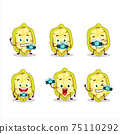 Photographer profession emoticon with slice of cupuacu cartoon character 75110292