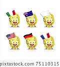 Slice of cupuacu cartoon character bring the flags of various countries 75110315