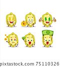 Slice of cupuacu cartoon character with cute emoticon bring money 75110326