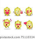 Slice of cupuacu cartoon character with love cute emoticon 75110334