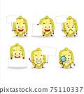 Slice of cupuacu cartoon character bring information board 75110337