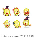 Halloween expression emoticons with cartoon character of slice of cupuacu 75110339