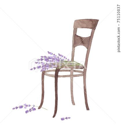 椅子和薰衣草的水彩插圖 75110837
