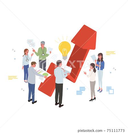 企業形象,與人,團隊合作插圖,等距的上升箭頭 75111773