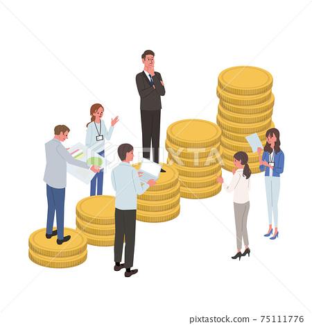 企業形象,與人上升的硬幣,團隊合作插畫,等距 75111776